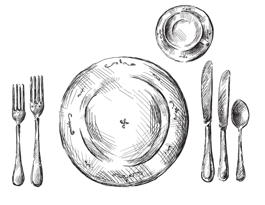 Distribucion de los cubiertos y copas en una mesa