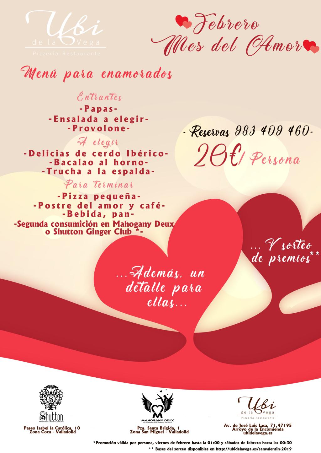 Menú San Valentín 2019. Sorteo de premios